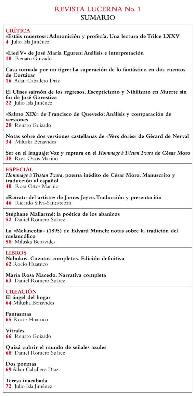 Contenidos del primer número de revista Lucerna