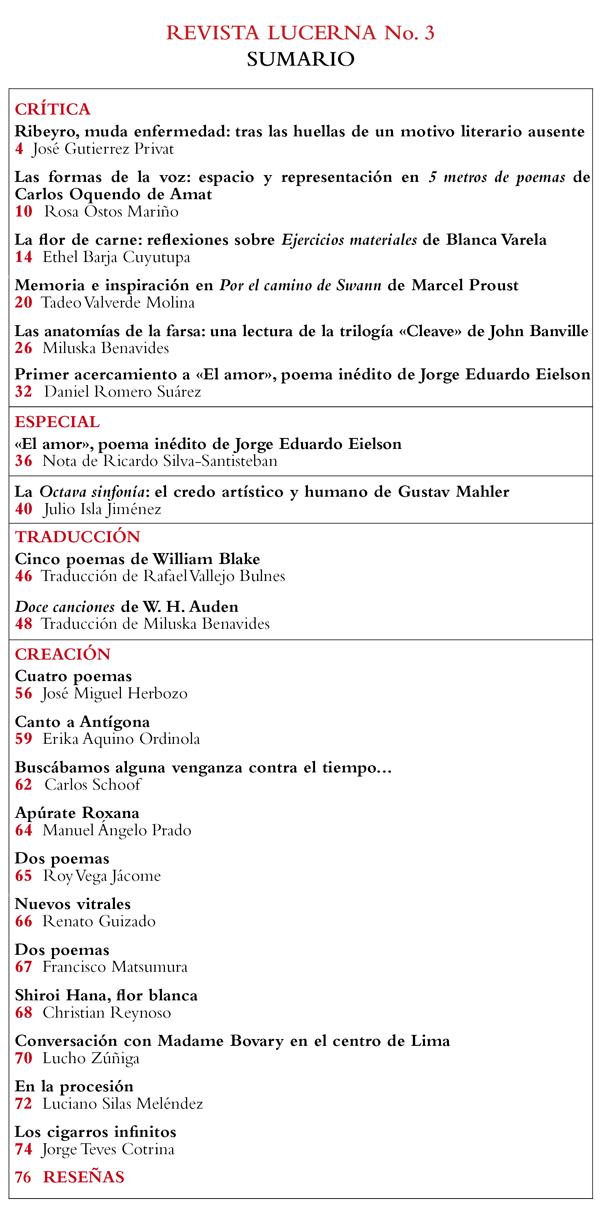 Contenidos del tercer número de revista Lucerna