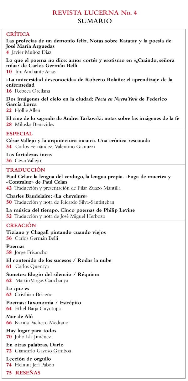 Contenidos del cuarto número de la revista Lucerna